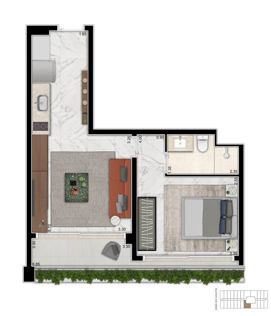 Planta do Cyrela For You Moema. floorplan