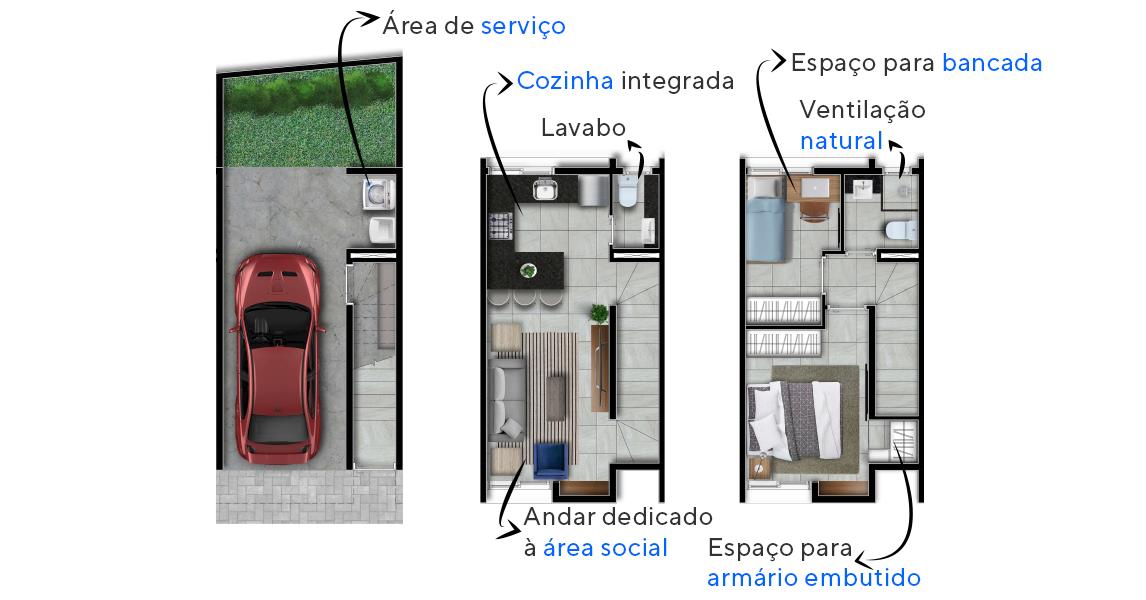 96 M² - 2 DORMITÓRIOS. Casas no Real Parque com cozinha integrada ao living. Destaque para as amplas janelas, que garantem circulação do ar tornando os ambientes arejados e ventilados.