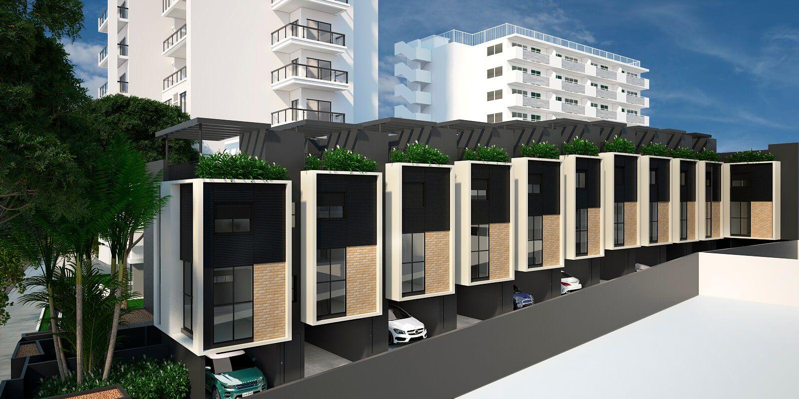 FACHADA das casas. O verde se estende dos canteiros arborizados, na entrada do condomínio, até os rooftops. Lazer e qualidade de vida para a sua família!