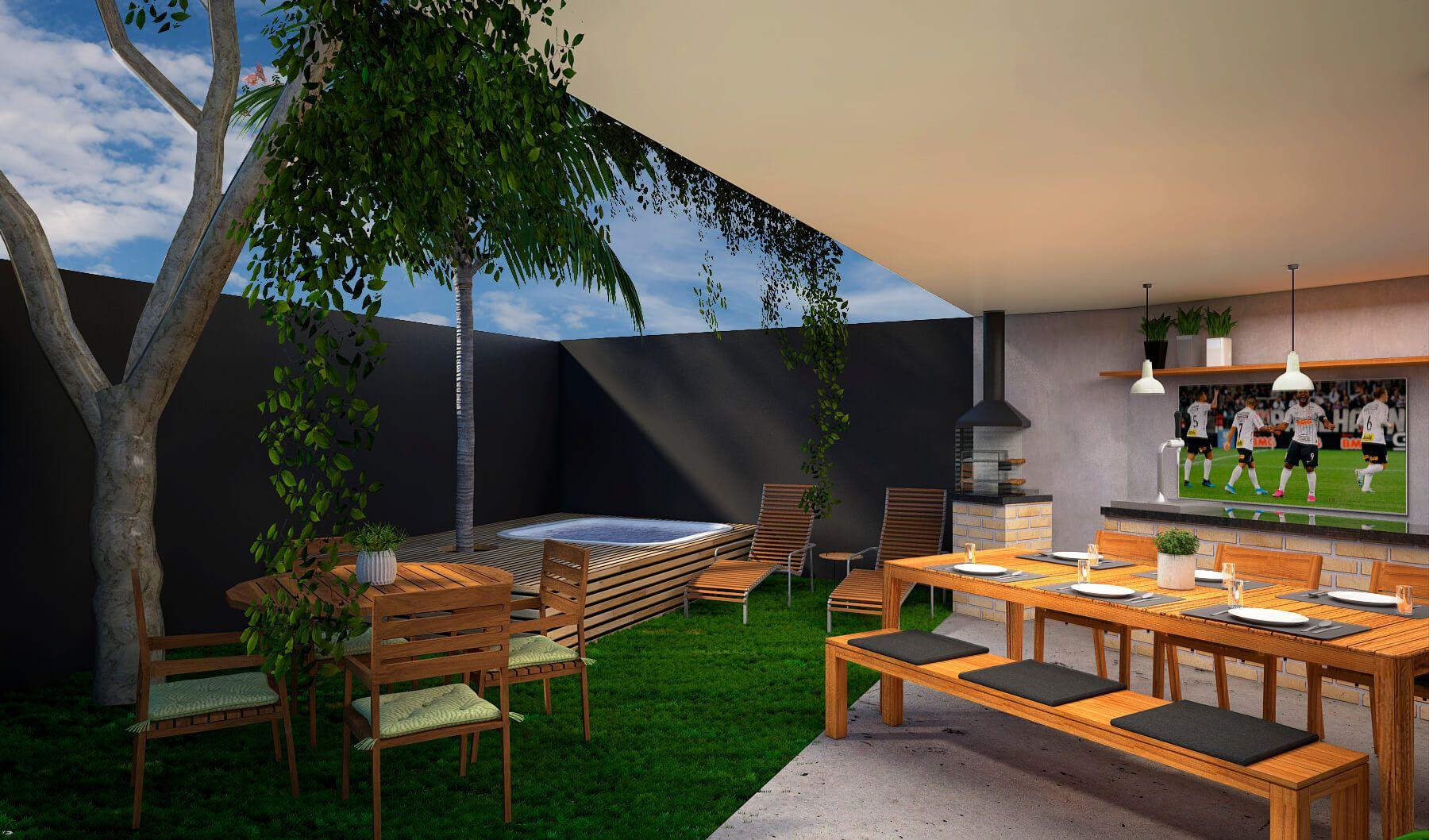 JARDIM com espaço descoberto e sugestão de utilização para spa com deck, espreguiçadeiras e mesas. A estrutura das casas dá a liberdade para que os ambientes sejam configurados da forma que você quiser!