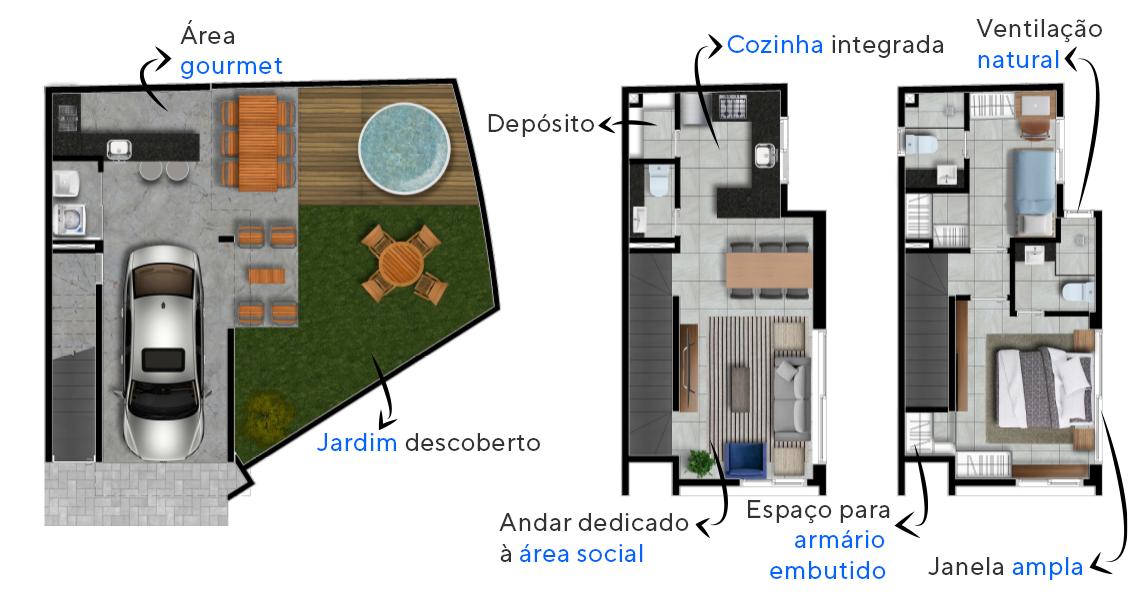 140 M² - 2 SUÍTES. Casas na Vila Ipojuca com mais de 35 m² no térreo, muito espaço para você criar sua própria área gourmet com spa!