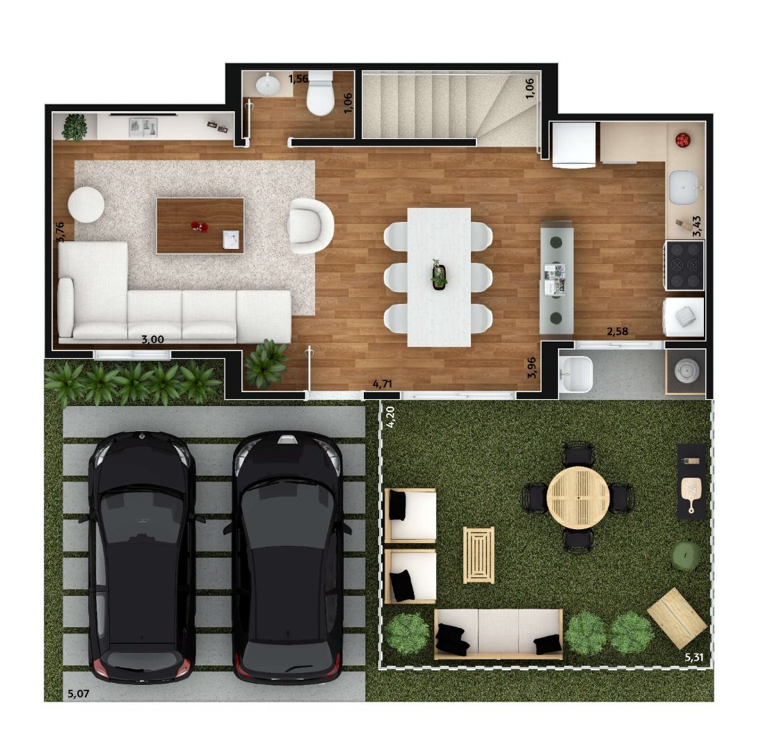 95 M² - 3 DORMITÓRIOS, SENDO 1 SUÍTE. Casa com 3 dormitórios, planta térreo.
