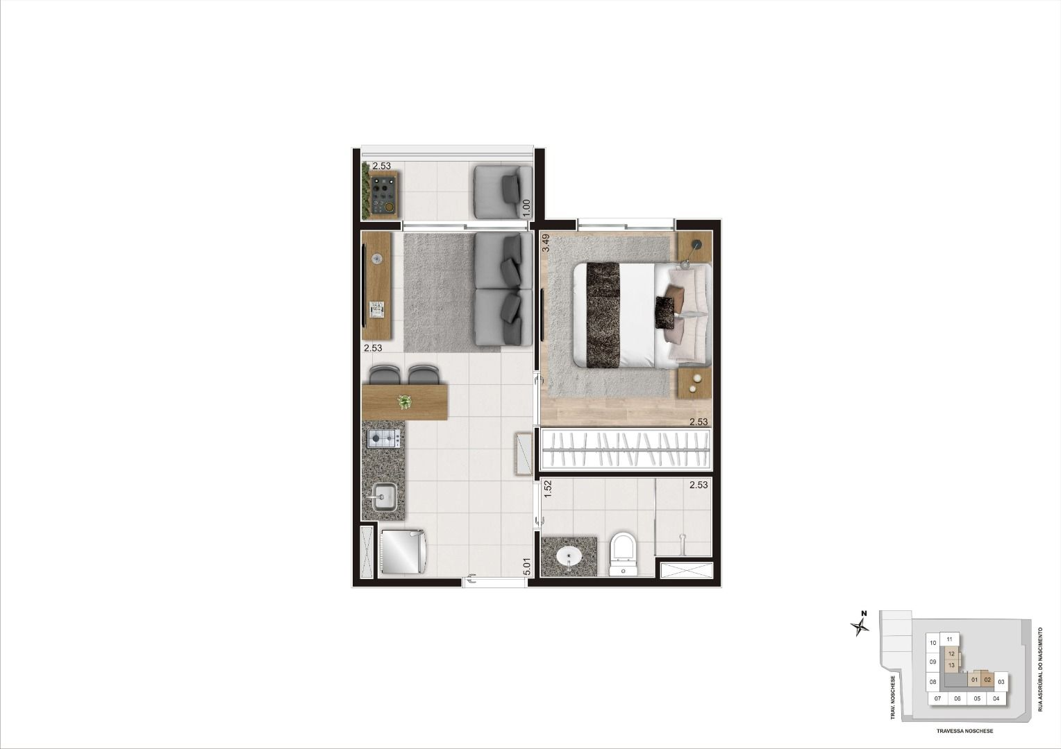 Planta do Today Brigadeiro. floorplan