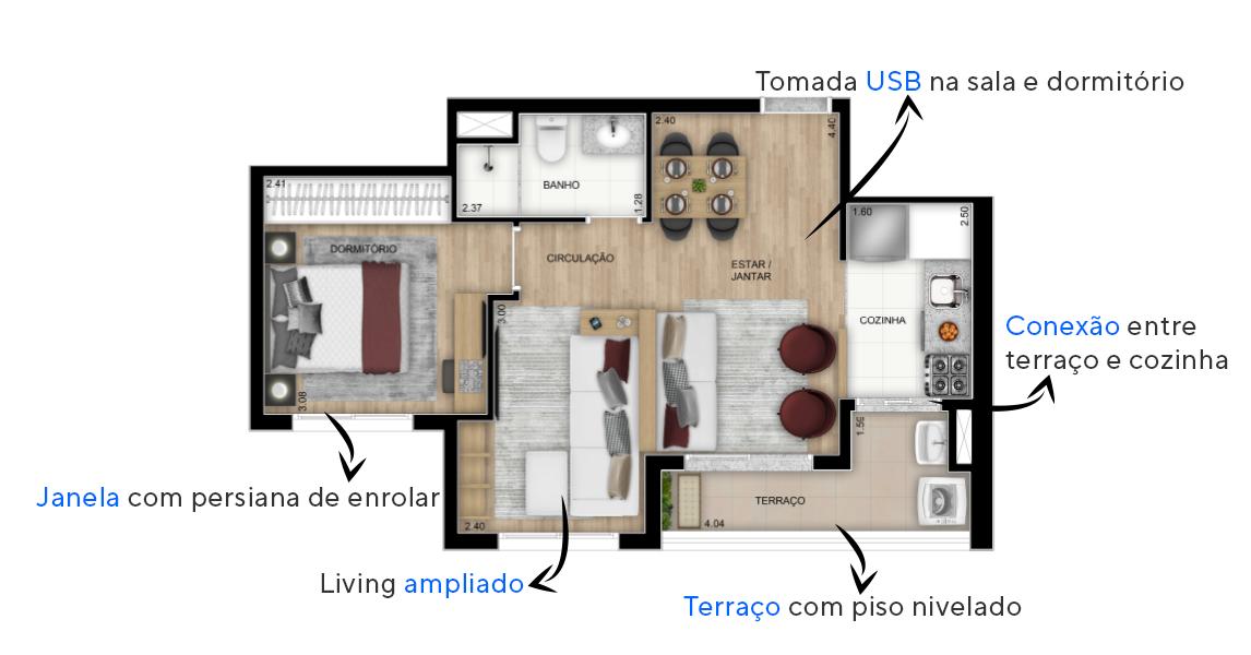 47 M² - 1 DORMITÓRIO. Apartamentos na Lapa com living ampliado, proporcionando mais de 15 m² de área social e espaço para criação de 3 ambientes. Perfeito para quem gosta de receber convidados!