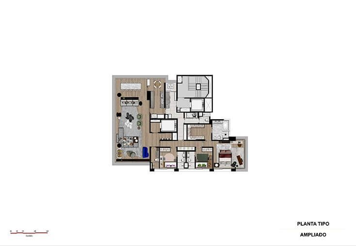 Planta do Agia Faria Lima. floorplan