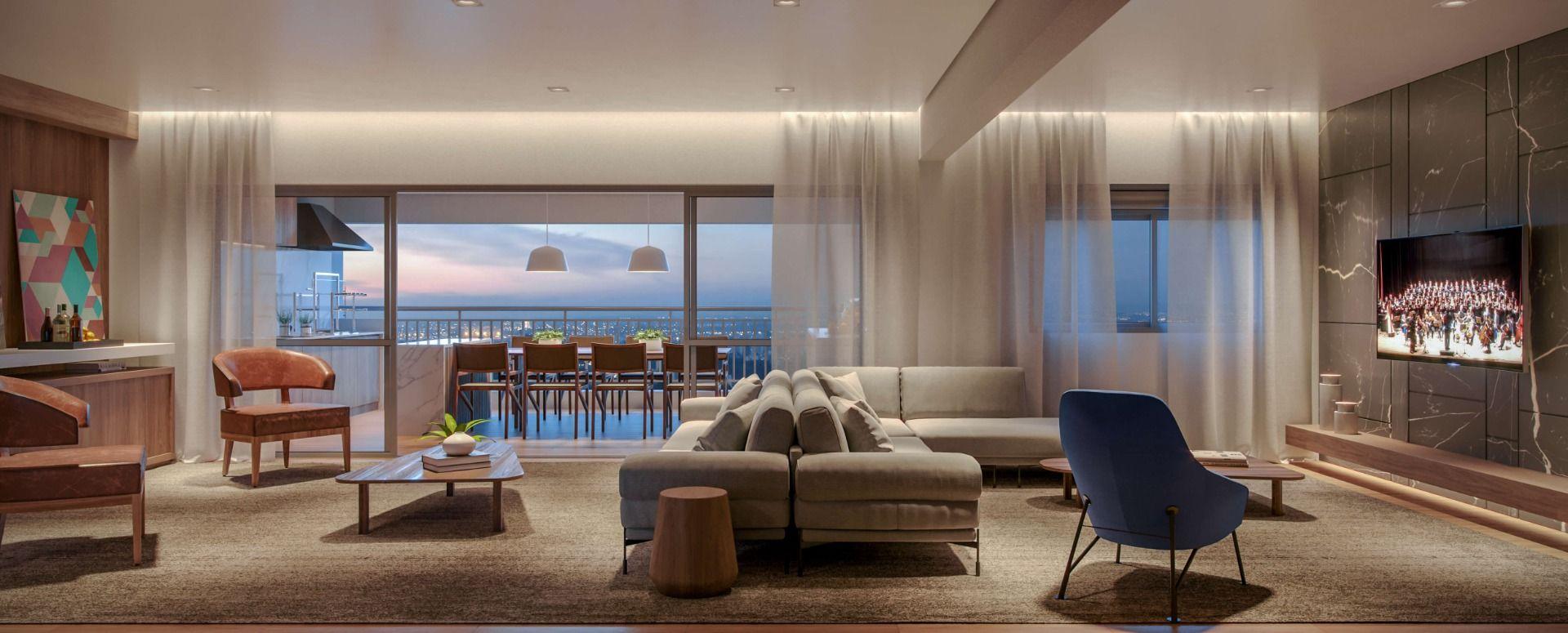 PERSPECTIVA ARTÍSTICA DO LIVING AMPLIADO do apartamento de 227 m², opção 3 suítes - torre 1, final 2. O living e o terraço totalizam mais de 90 m² de área social, garantindo conforto para receber convidados.