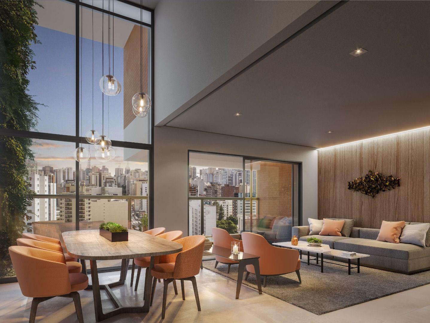 LIVING com pé-direito duplo em um dos ambientes, garantindo sofisticada área social com vista para o entorno do Jardim Paulista.