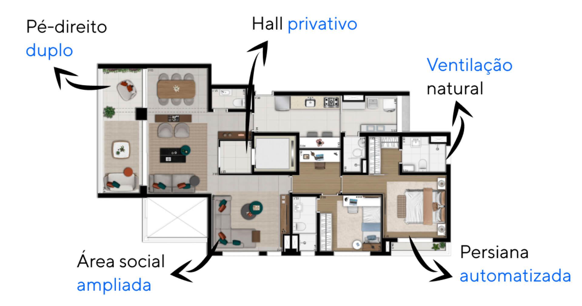 127 M² - 3 SUÍTES. Apartamentos do Vista Caconde com passagem íntima que separa as suítes da área social, proporcionando privacidade. Destaque para a suíte master, com espaço para closet e persiana automatizada para controle da quantidade de luz natural.