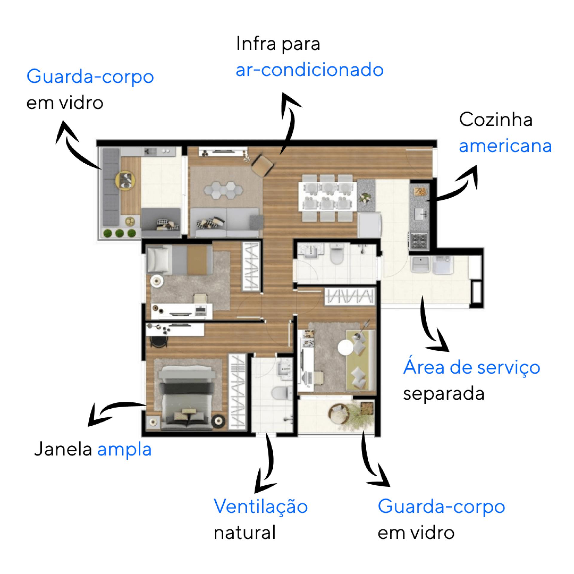 82 M² - 3 DORMITÓRIOS, SENDO 1 SUÍTE. Apartamentos do Edifício MariAna! com banheiros naturalmente ventilados, terraço íntimo e janelas com bandeira fixa nos dormitórios. Destaque para a suíte, com espaço para bancada e infra para ar-condicionado.
