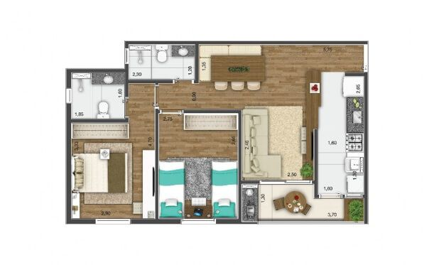 Planta do Kennedy Park Home. floorplan