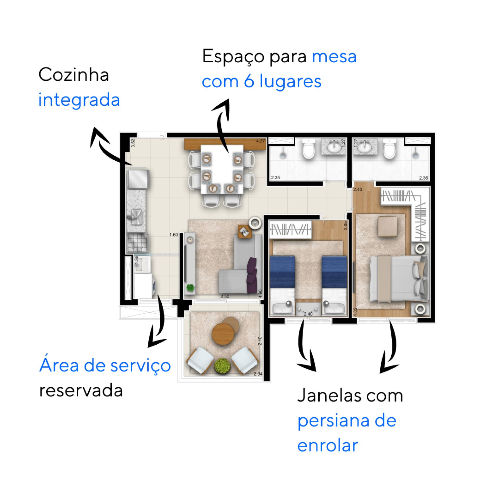 59 M² - 2 DORMITÓRIOS, SENDO 1 SUÍTE. Apartamentos do ON Vila Leopoldina com cozinha integrada a área social, favorecendo o convívio familiar. Destaque para a varanda com guarda-corpo em vidro, proporcionando vista livre para duas direções.