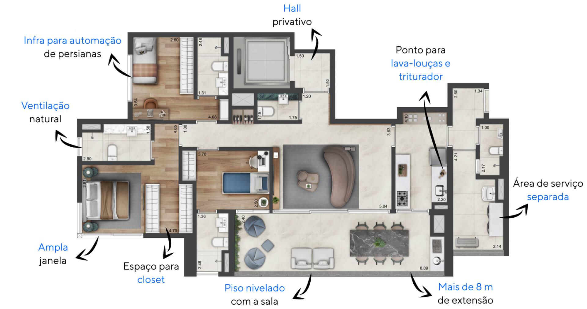 142 M² - 3 SUÍTES. Planta Padrão do Parque Global com hall privativo para que você tenha acesso direto ao seu apartamento. Destaque para o amplo terraço com piso nivelado, uma verdadeira extensão da área social para receber convidados!
