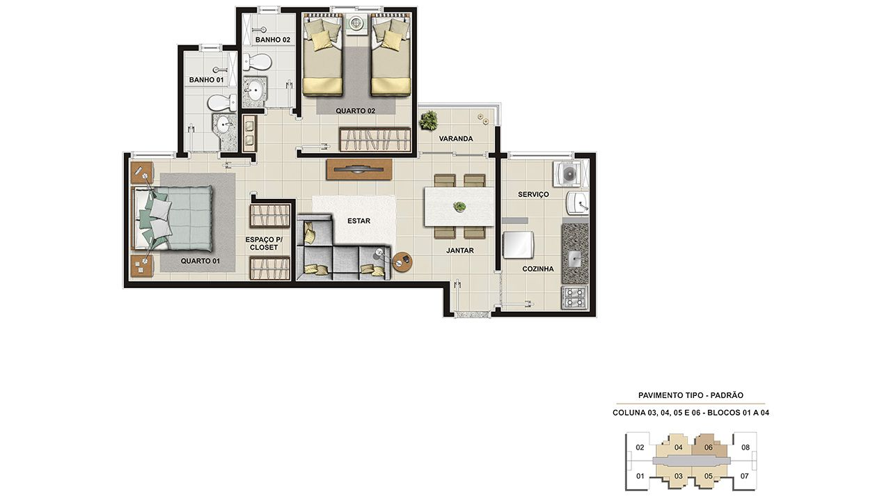 Planta do Way Planalto Residence. floorplan