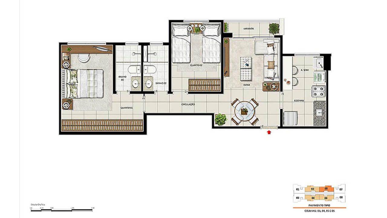 Planta do Origem Oásis Residencial. floorplan