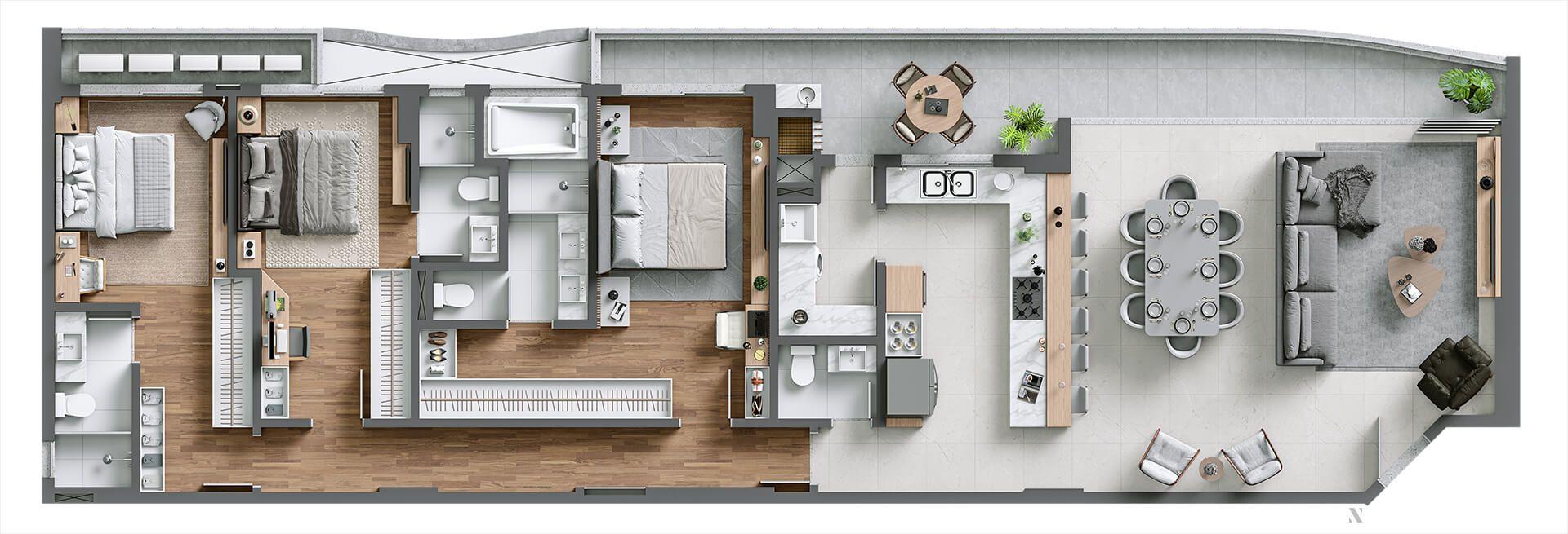 Planta do Le Blanc Brava Residence. floorplan