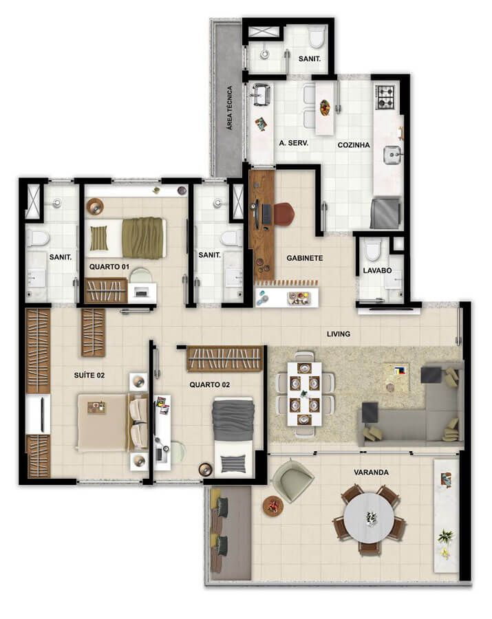 Planta do Pituba Dolce Vita. floorplan