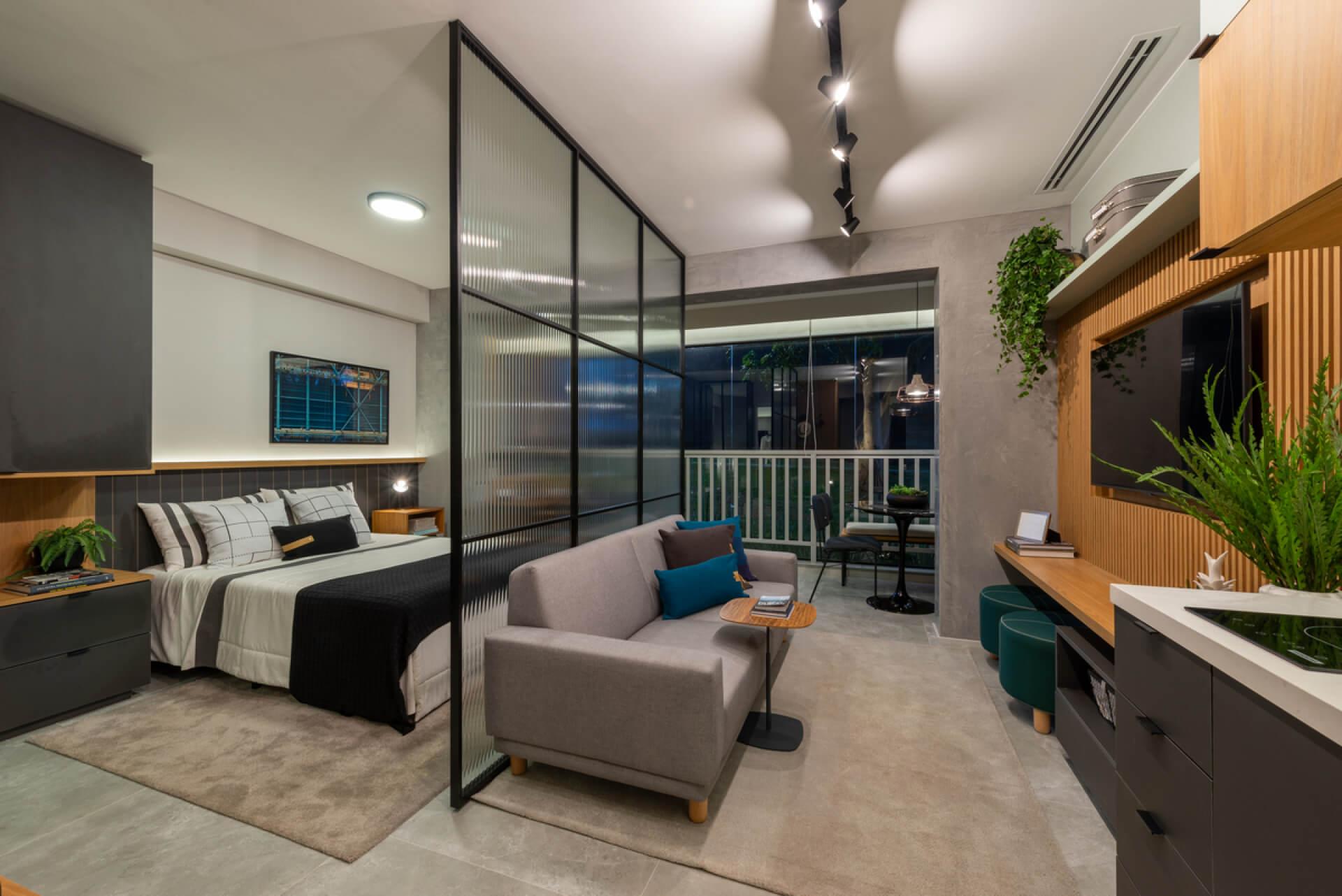 LIVING do studio de 36 m² integrado aos demais ambientes, essa configuração de planta é ideal para quem tem um estilo de vida moderno e descomplicado!