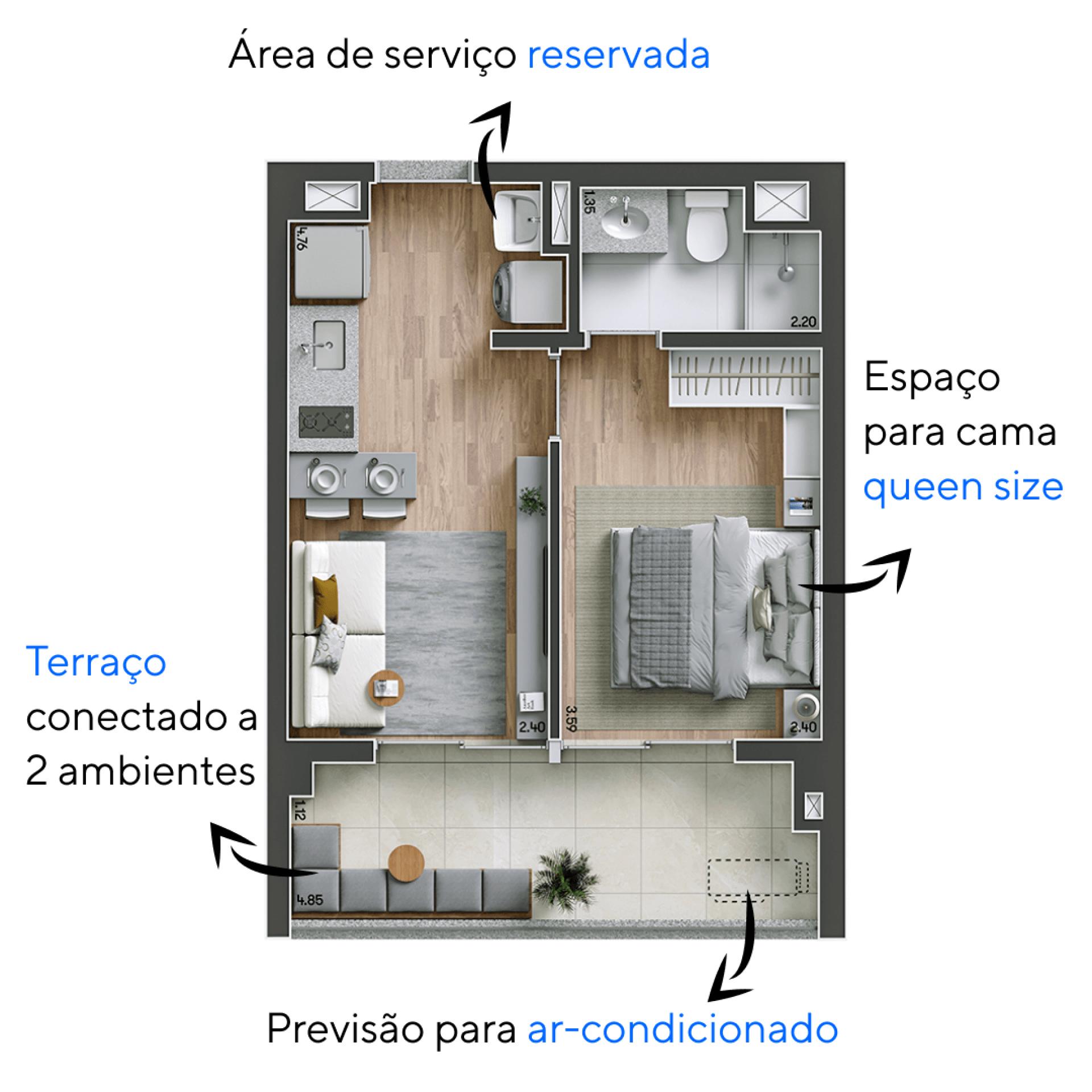 36 M² - 1 SUÍTE. Apartamento do Modo Ipiranga com suíte com espaço para cama queen size. Destaque para o terraço que se conecta a sala de estar, ampliando o espaço social do apartamento.