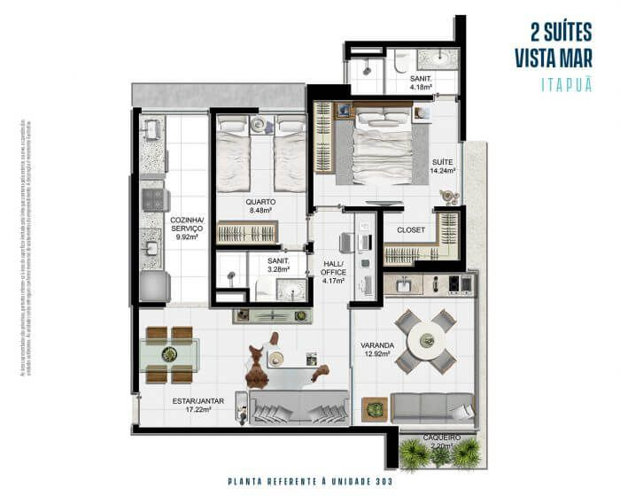Planta do Jaguah Residence. floorplan