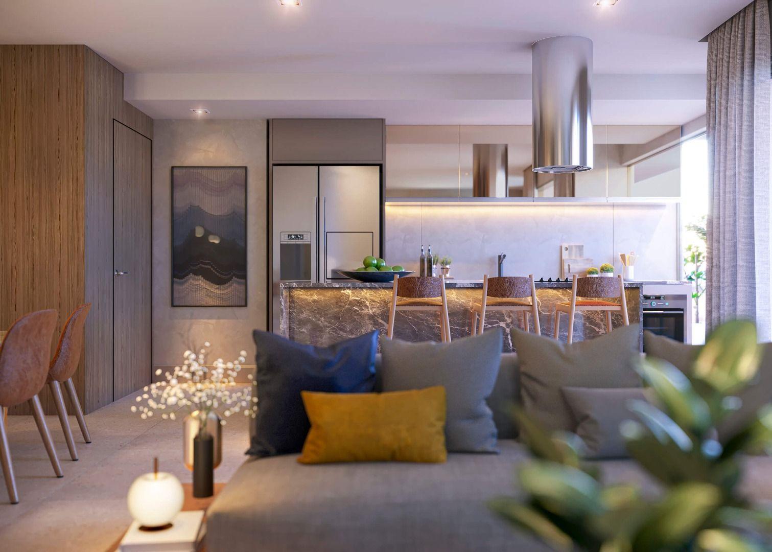 SALA conectada à cozinha aberta, garantindo amplitude aos ambientes. Essa configuração permite a instalação de uma ilha com cooktop e espaço para refeições com banquetas.