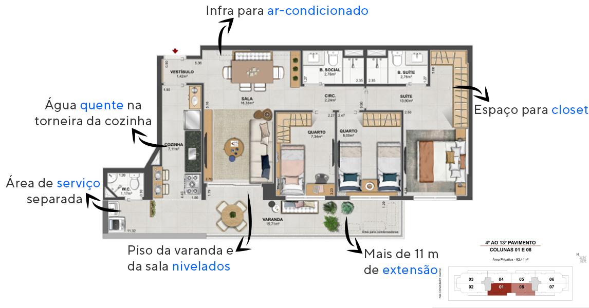 92 M² - 3 QUARTOS, SENDO 1 SUÍTE. Apartamentos do Home Boutique by Tegra com mais de 15 m² de varanda. Uma extensa área integrada e nivelada com os pisos da cozinha e da sala.