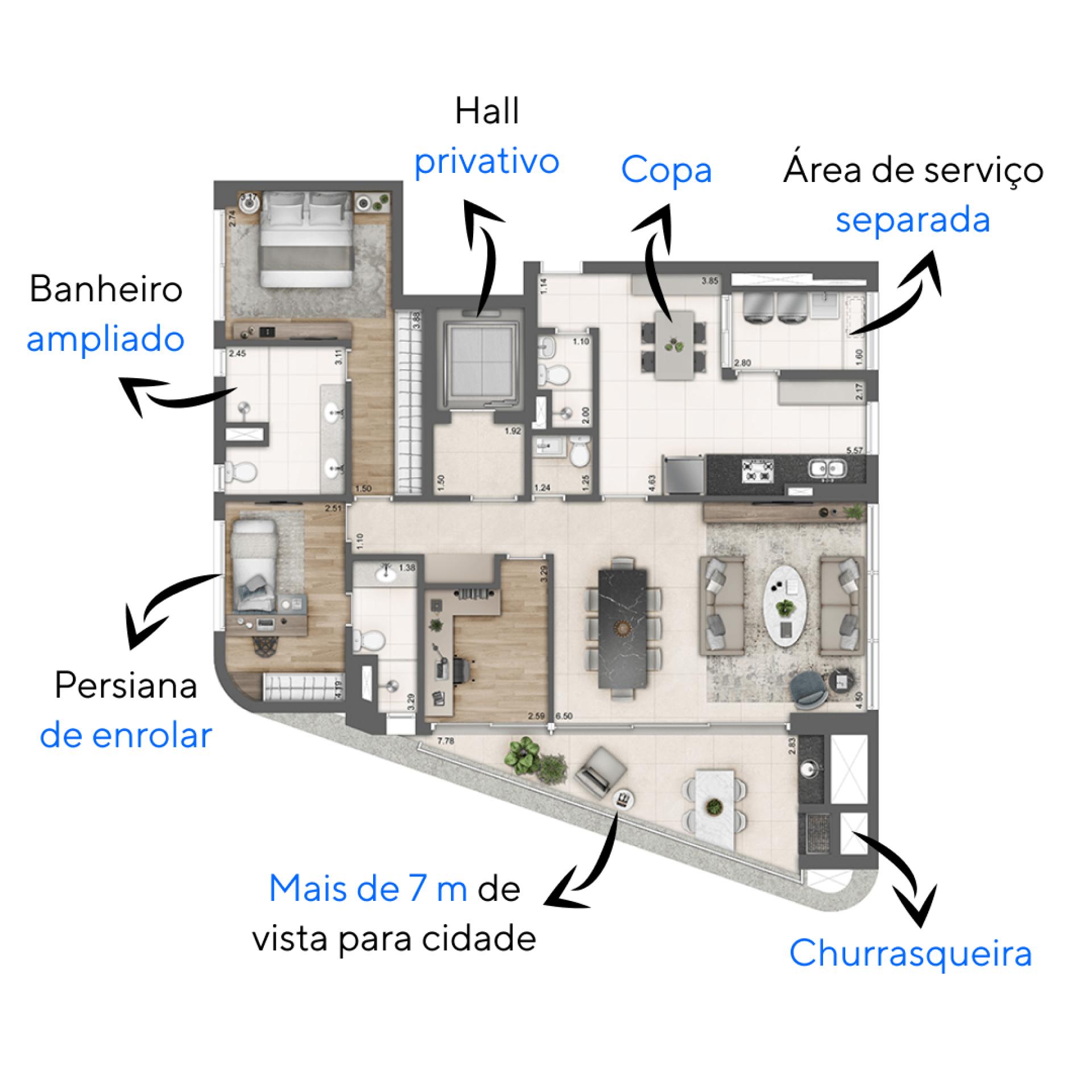 152 M² - 2 SUÍTES. Apartamentos do Arcos Itaim com hall privativo que da acesso a ampla área social integrada ao terraço. O apartamento possui duas suítes completa e um escritório, uma configuração ideal para quem quer ter um espaço home office.