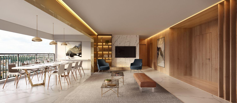 LIVING AMPLIADO do apto de 113 m² com destaque para a ampla boca de sala e o piso nivelado integrando os ambientes. Amplo espaço para viver confortavelmente e receber convidados!