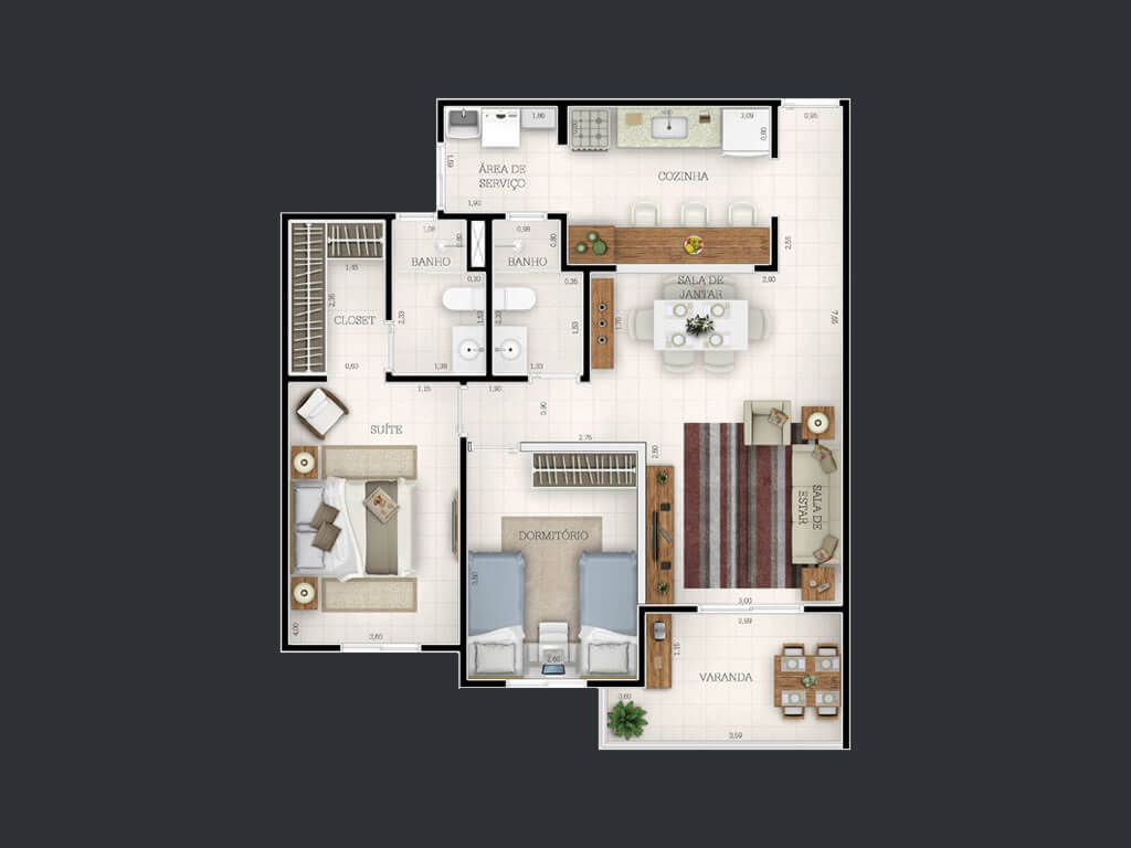 Planta do Allegro Residencial. floorplan