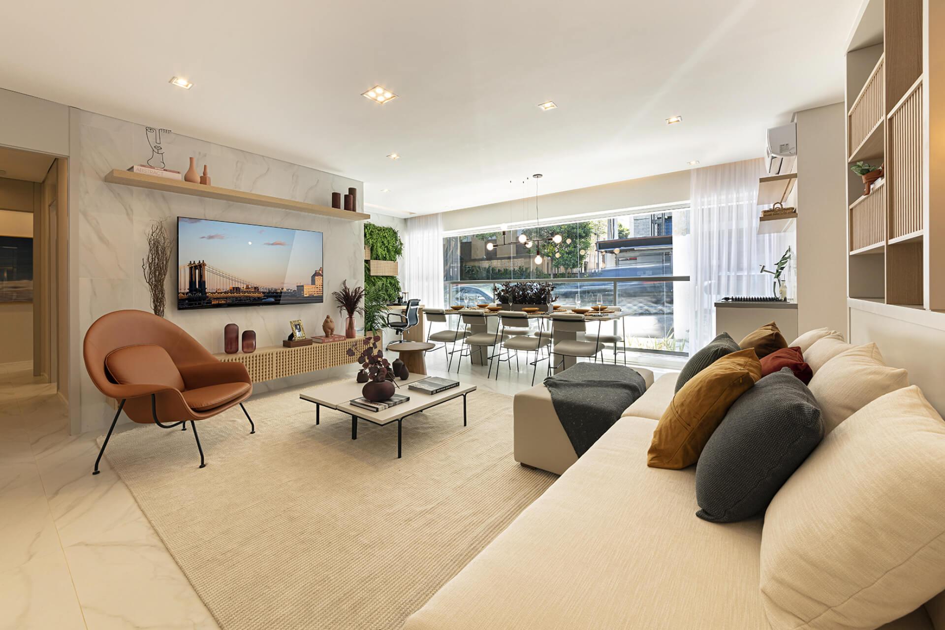 LIVING do apto de 110 m².