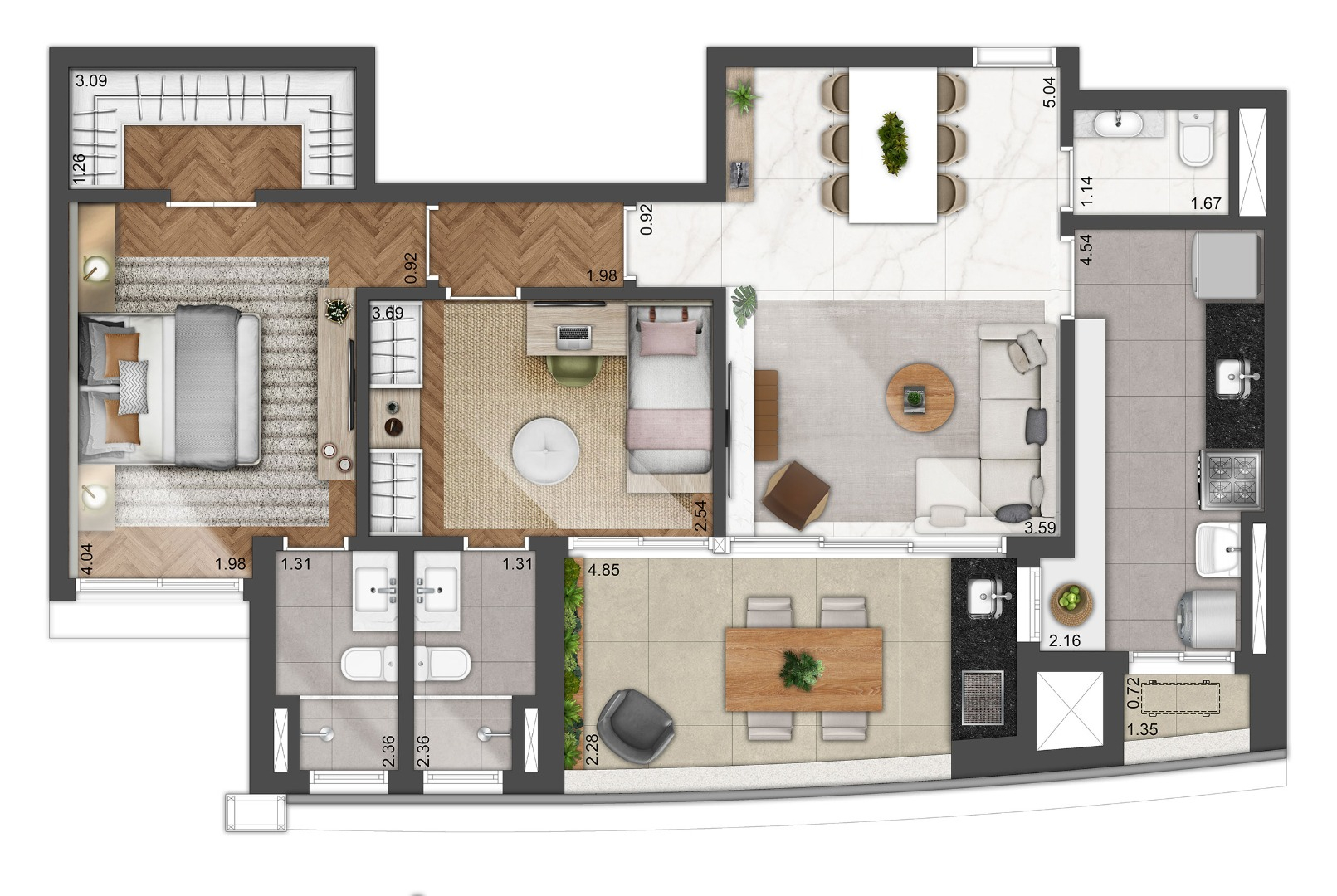 Planta do Level Alphaville. floorplan