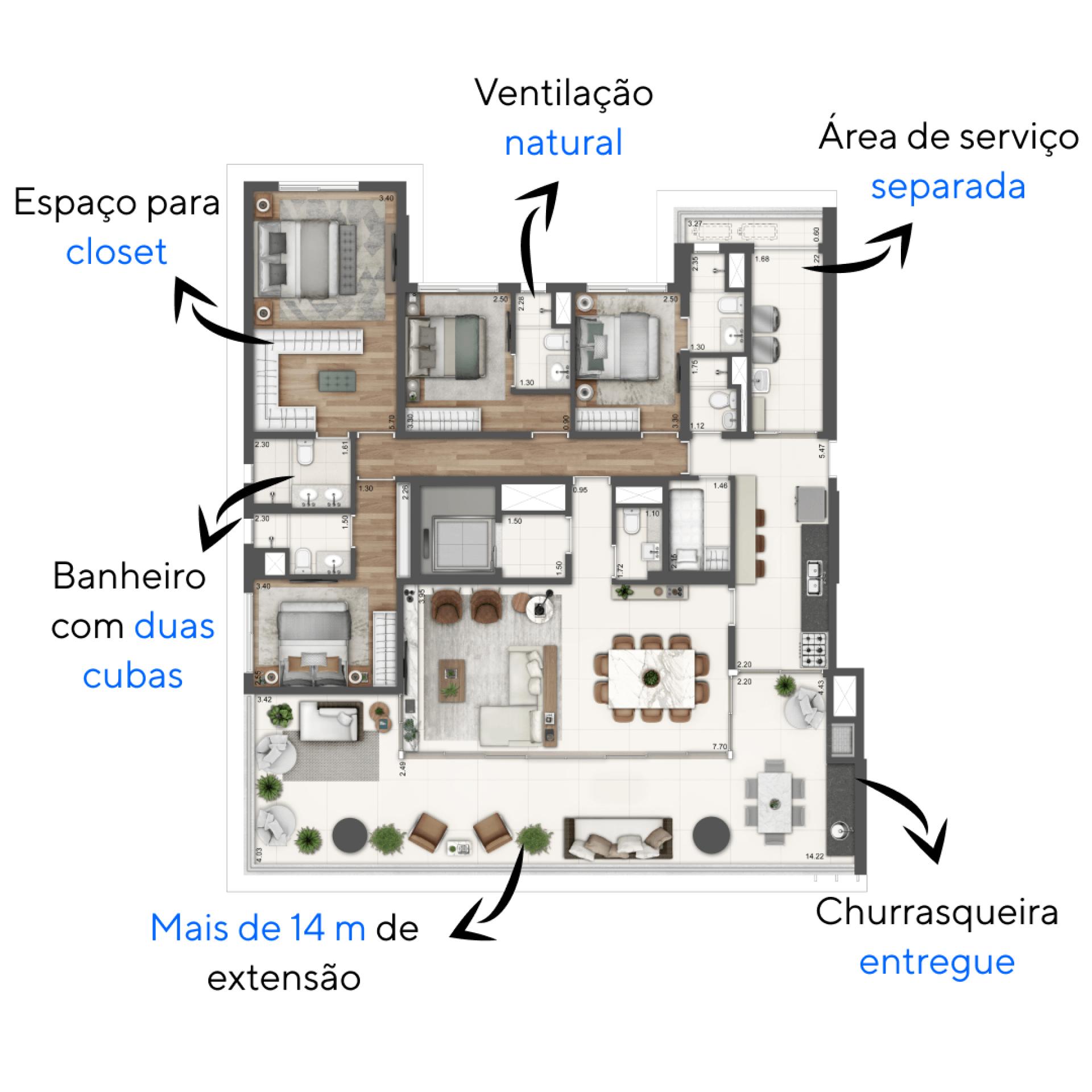 206 M² - 4 SUÍTES. Apartamentos do Balkon Campo Belo com suítes completas para aproveitar os seus momentos de descanso. Conta com ar-condicionado, persiana de enrolar nas janelas, espaço para cama de casal e banheiros com ventilação natural.
