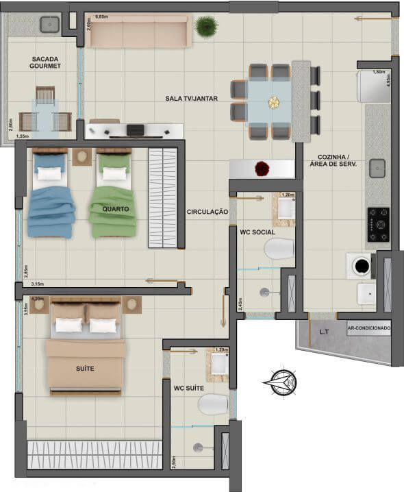 Planta do Torre Ouro Residence. floorplan