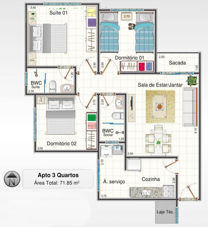 Planta do Residencial Classic. floorplan