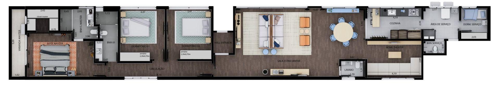 207 M² - 3 DORMITÓRIOS, SENDO 1 SUÍTE. (Apartamento 121, 12º andar).