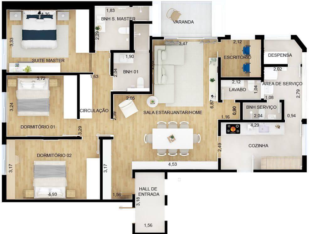 142 M² - 3 DORMITÓRIOS, SENDO 1 SUÍTE. (Apartamento 101, 10º andar).