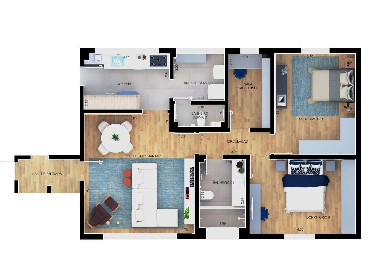 95 M² - 2 DORMITÓRIOS. (Apartamento 92, 9º andar).
