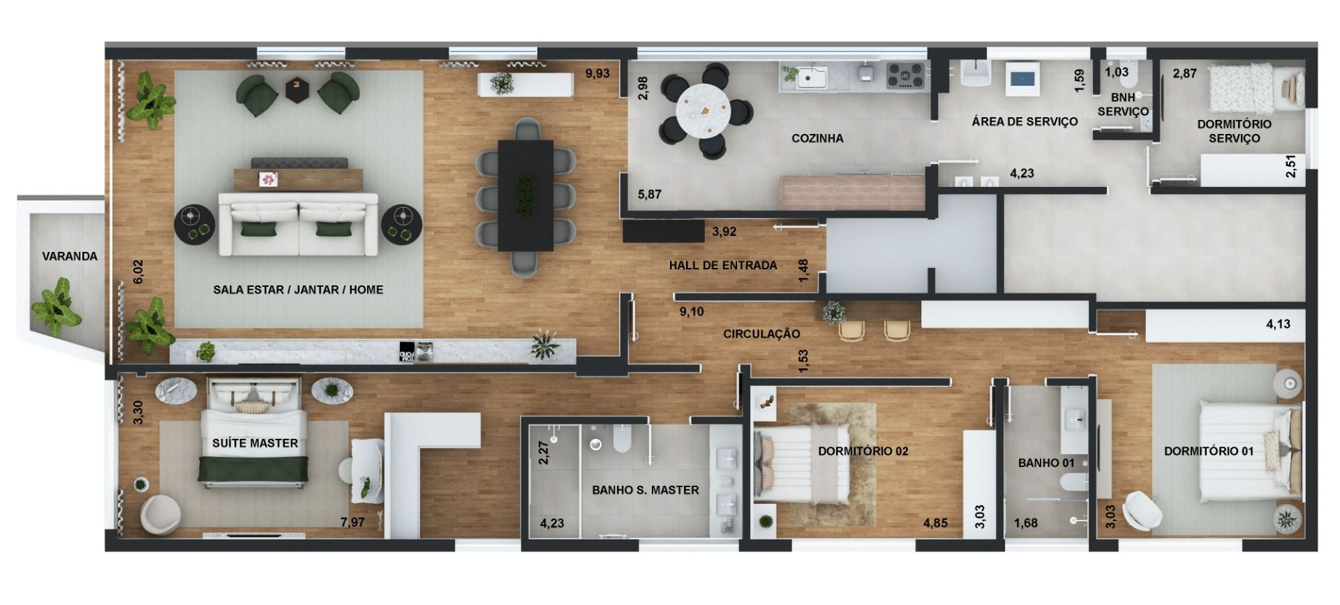 244 M² - 3 DORMITÓRIOS, SENDO 1 SUÍTE. (Apartamento 61, 6º andar).