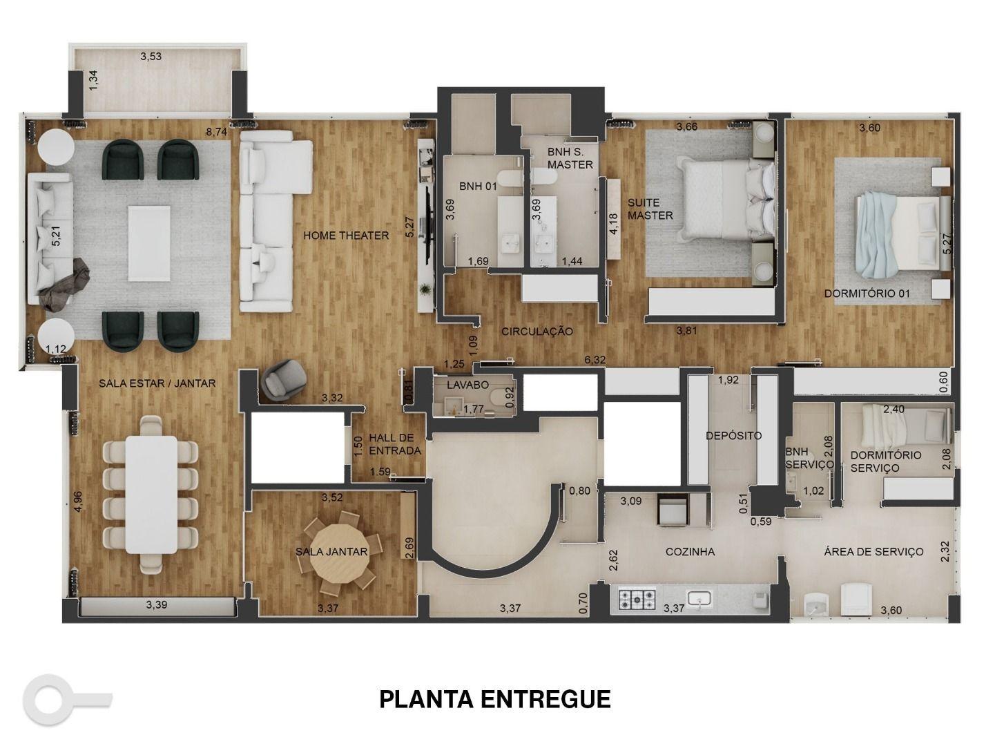210 M² - 2 DORMITÓRIOS, SENDO 1 SUÍTE. (Apartamento 91, 9º andar).