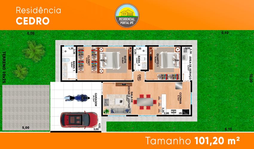 Planta do Residencial Portal Ipê. floorplan