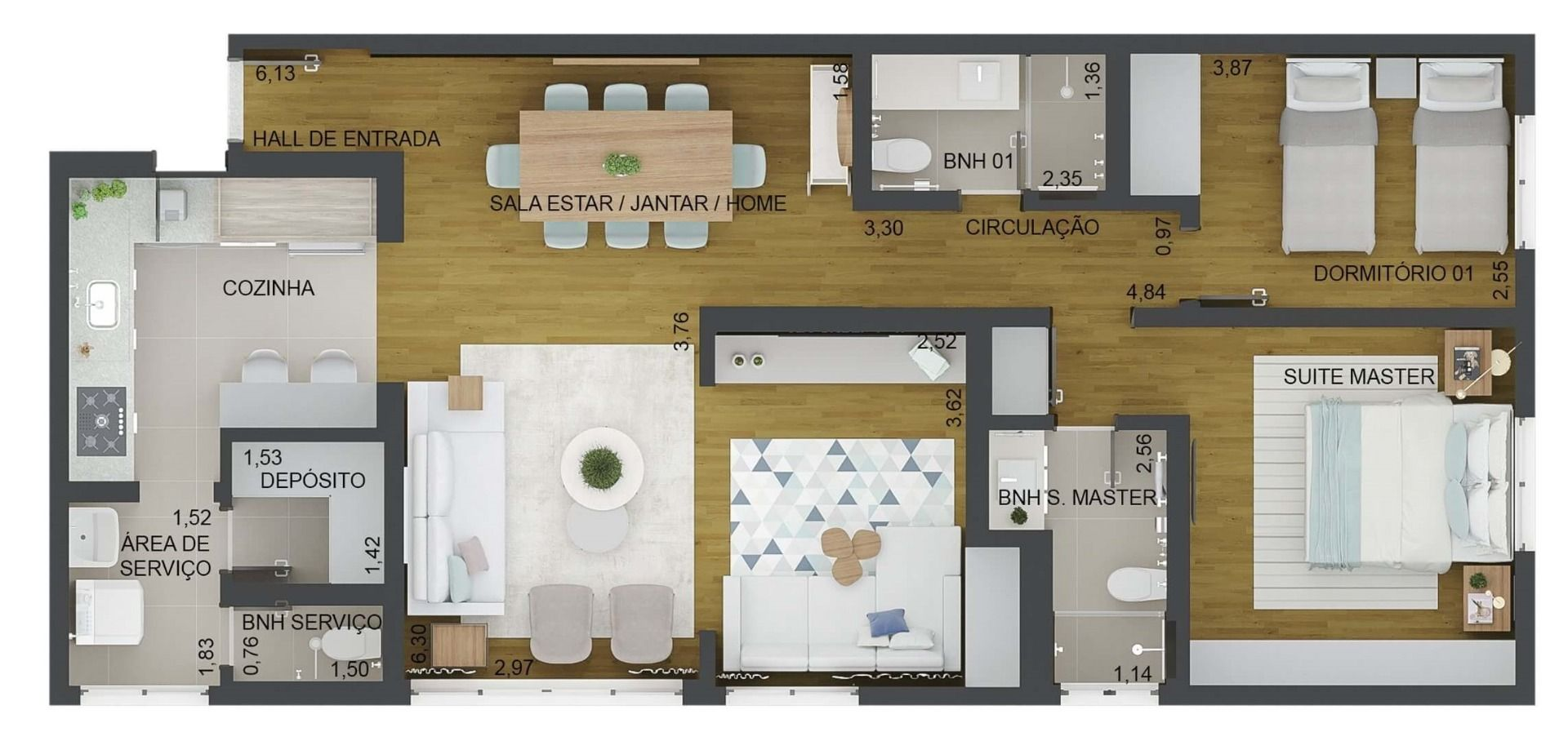 95 M² - 2 DORMITÓRIOS, SENDO 1 SUÍTE. (Apartamento 102, 10º andar).