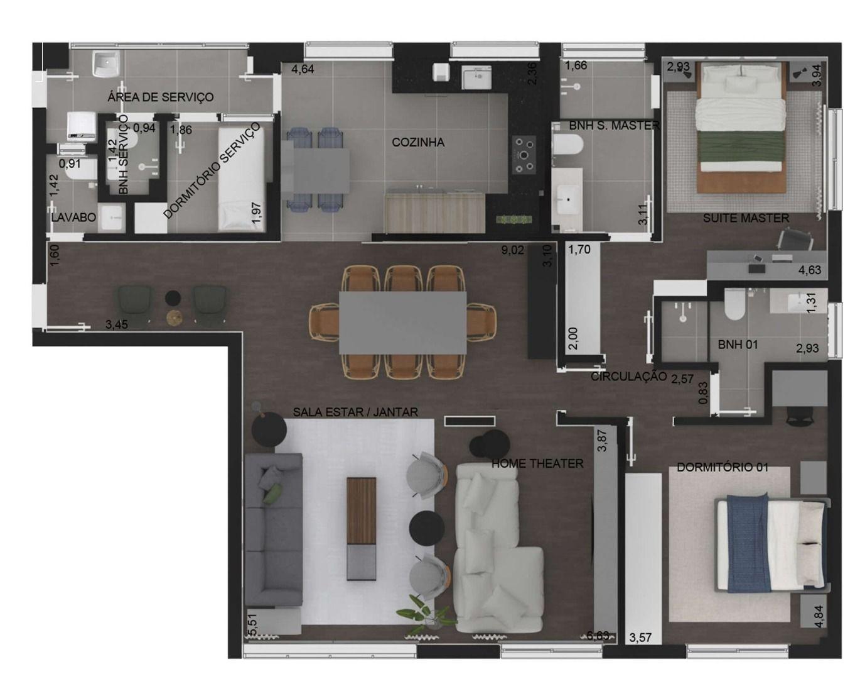 142 M² - 2 DORMITÓRIOS, SENDO 1 SUÍTE. (Apartamento 12, 1º andar).