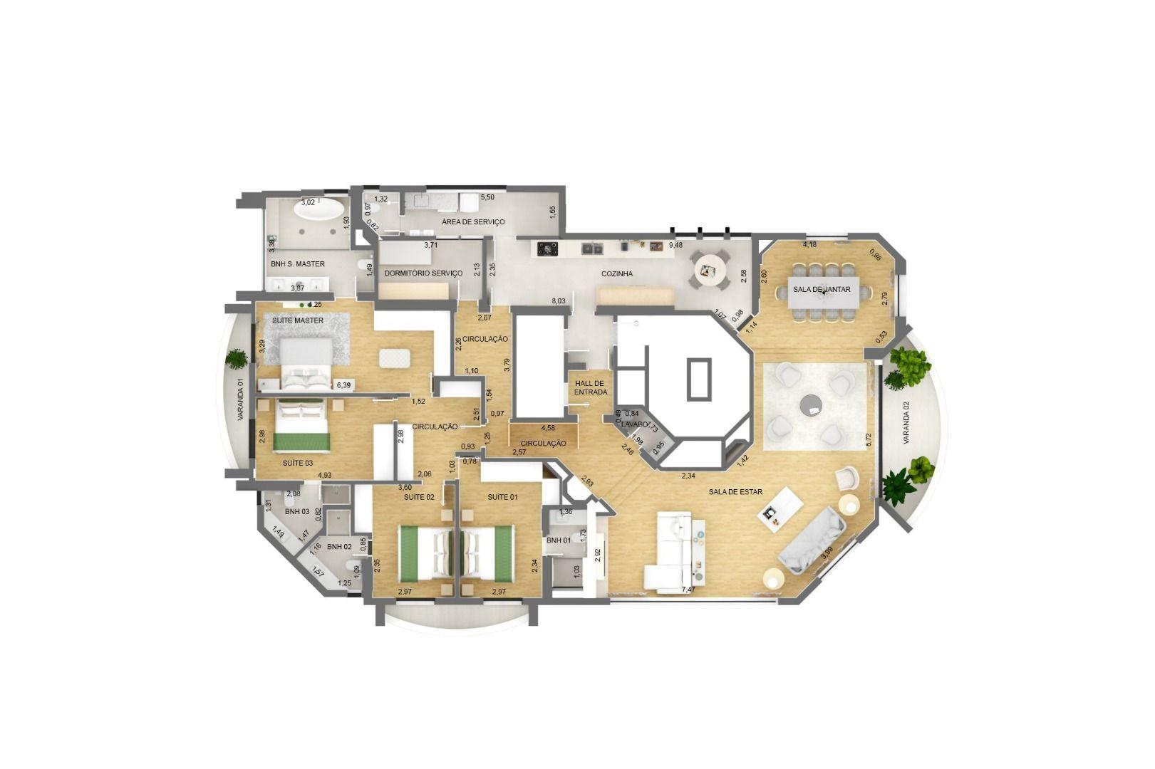 312 M² - 4 SUÍTES. (Apartamento 11, 1º andar).