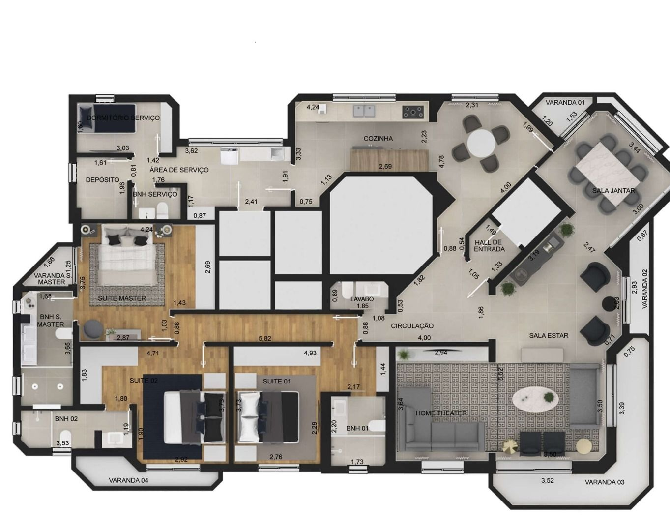 119 M² - 3 SUÍTES.  (Apartamento 201, 20º andar).