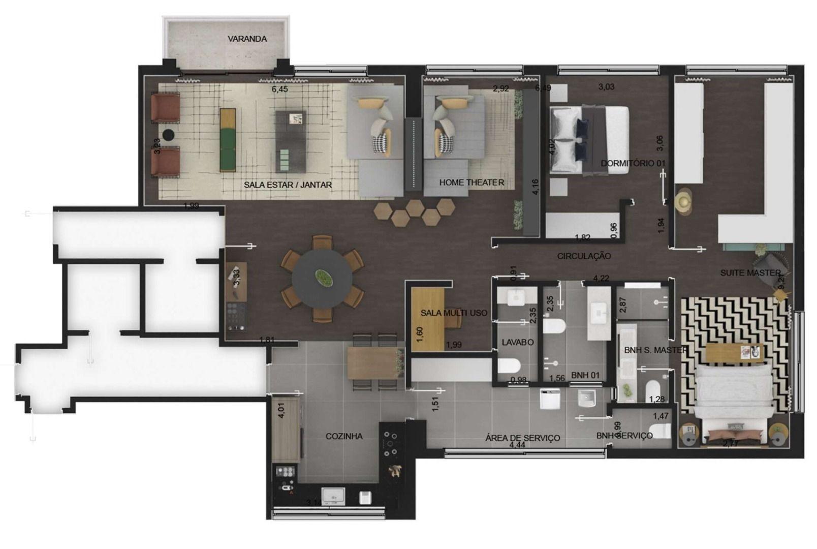 161 M² - 2 DORMITÓRIOS, SENDO 1 SUÍTE. (Apartamento 22, 2º andar).
