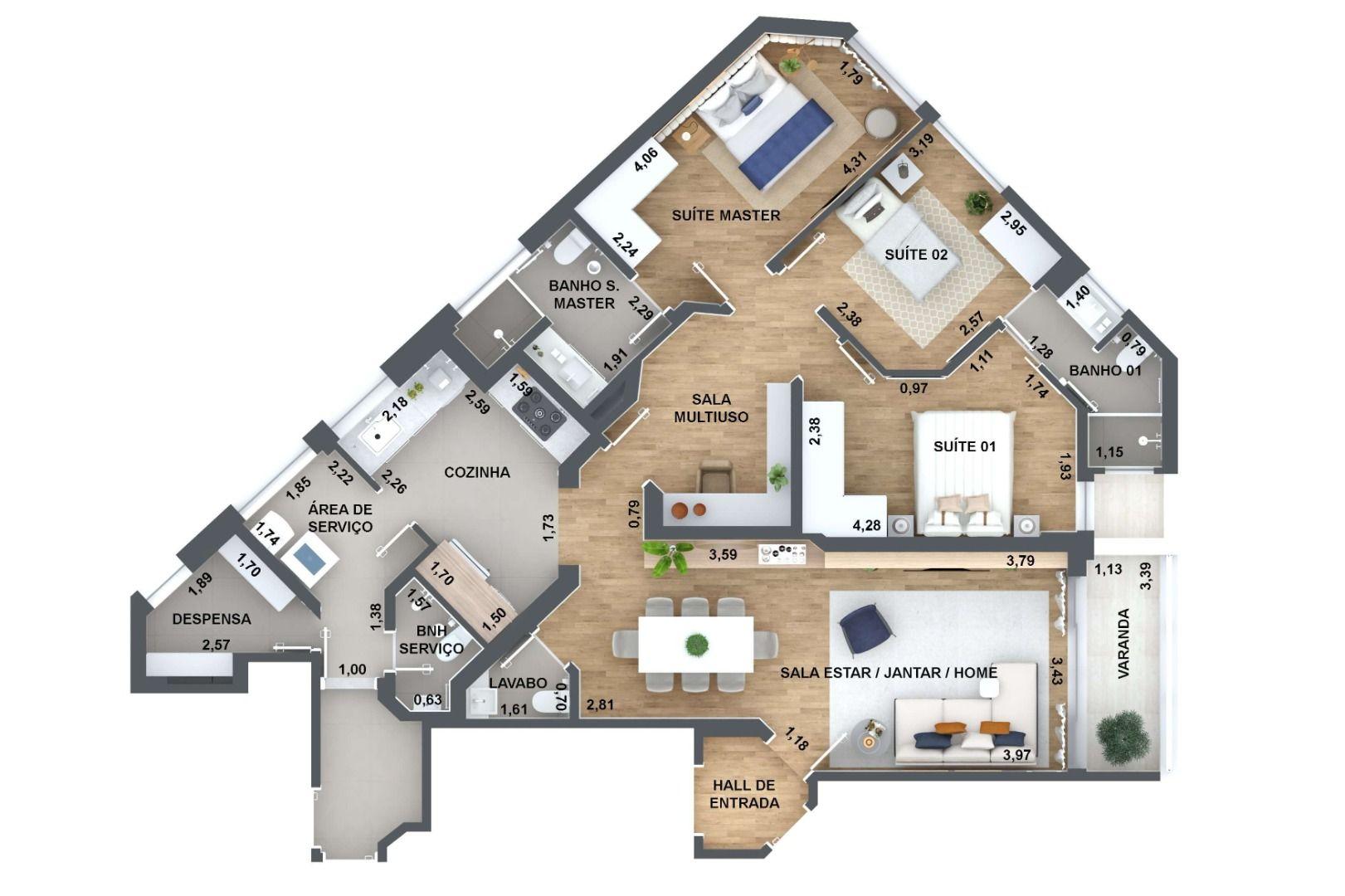 124 M² - 3 DORMITÓRIOS, SENDO 1 SUÍTE E 1 DEMI-SUÍTE. (Apartamento 32, 3º andar).