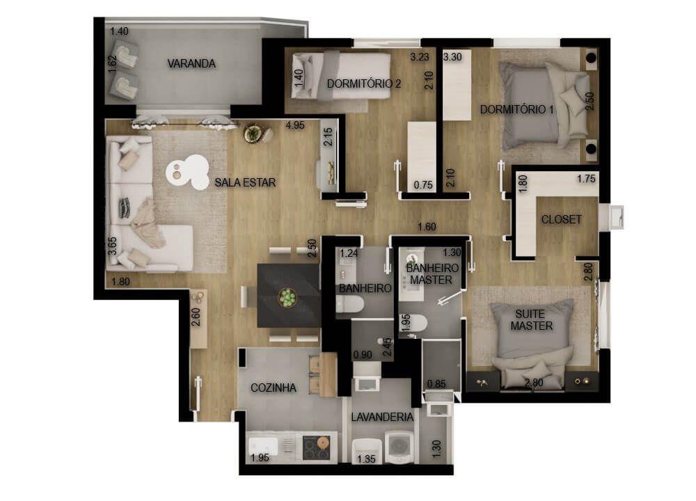 84 M² - 3 DORMITÓRIOS, SENDO 1 SUÍTE. (Apartamento 51, 5º andar).