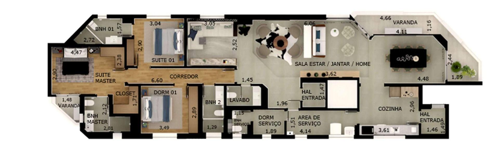 152 M² - 3 DORMITÓRIOS, SENDO 2 SUÍTES. (Apartamento 121, 12º andar).