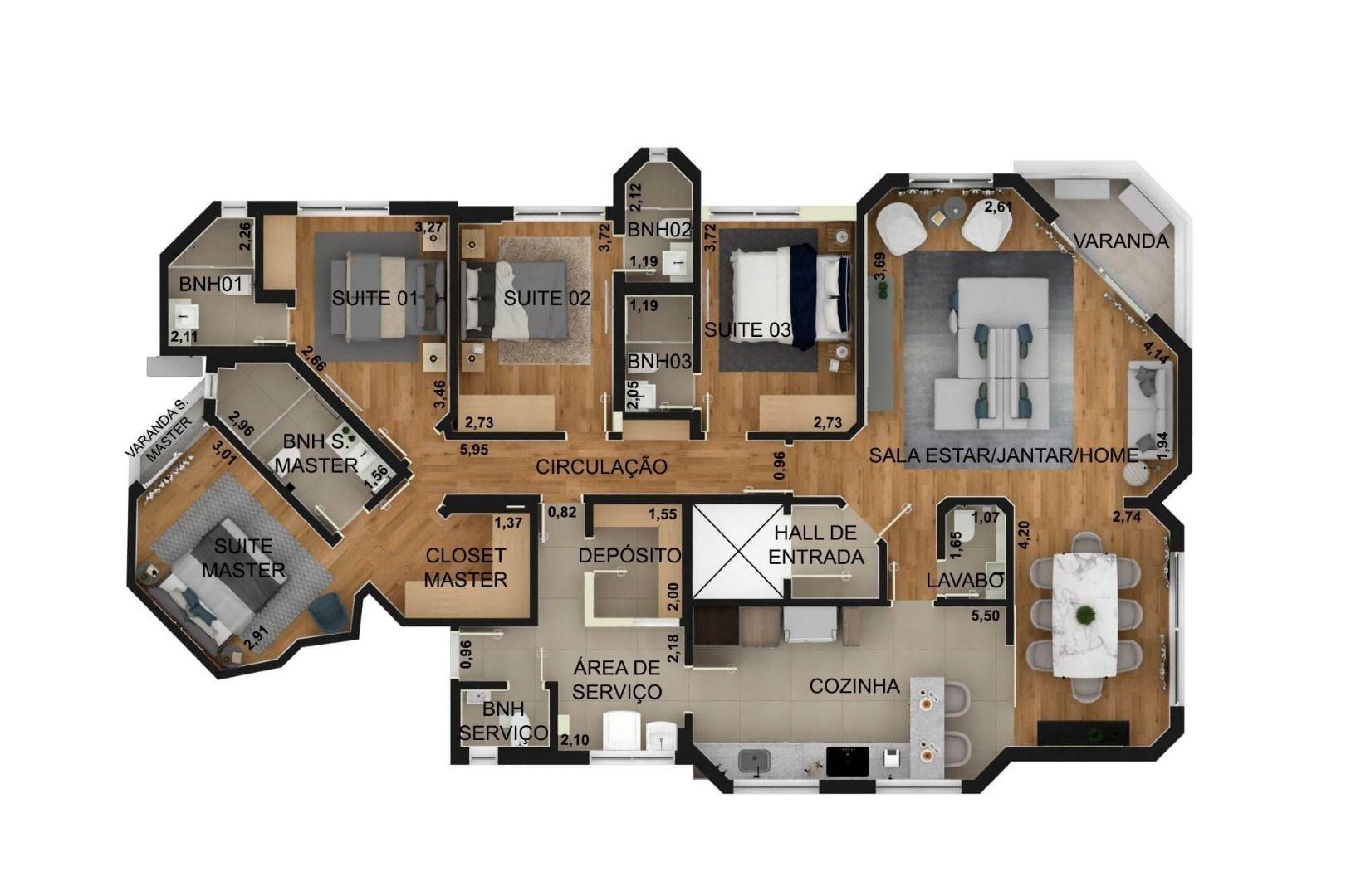 155 M² - 4 SUÍTES. (Apartamento 41, 4º andar).