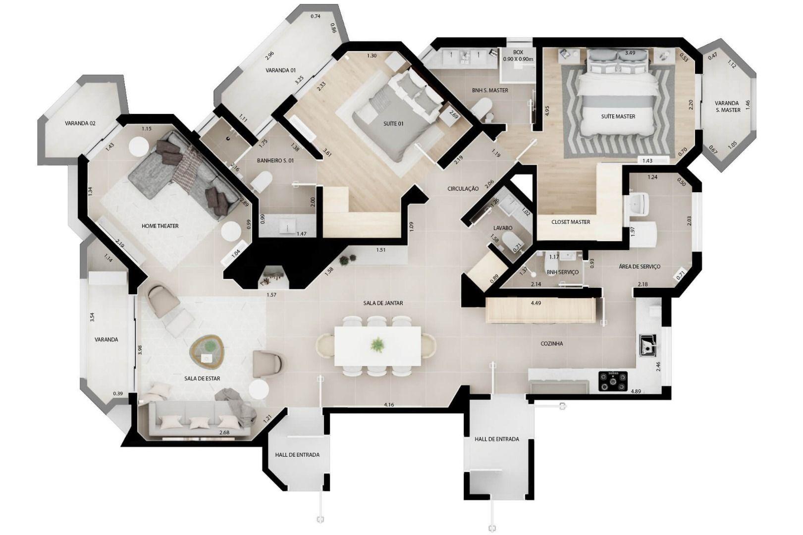 142 M² - 2 SUÍTES. (Apartamento 71, 7º andar).