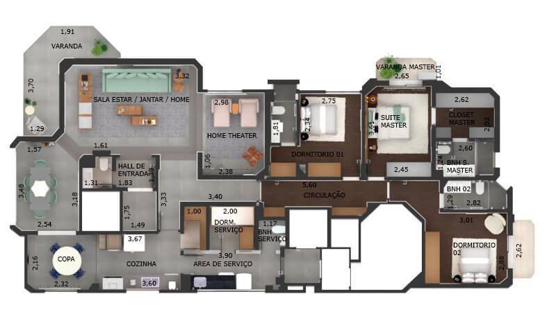 192 M² - 3 SUÍTES. (Apartamento 81, 8º andar).